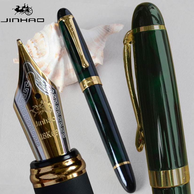 IRAURITA FOUNTAIN PEN JINHAO X450 DARK GREEN AND GOLDEN 18 KGP 0.7mm BROAD NIB FULL METAL BLUE RED 21 COLORS AND INK JINHAO 450