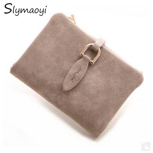 Lady Letter Snap Fastener Short Clutch Wallet Vintage Matte Women Wallet Fashion Small Female Purse short Coin Card Holder