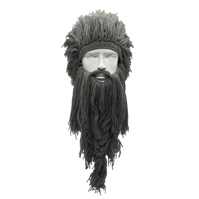 Unisex Crazy Wig Long Beard Personality Beanies Vikings Hats Handmade Winter Cosplay Gifts Funny Halloween Xmas Costumes Caps