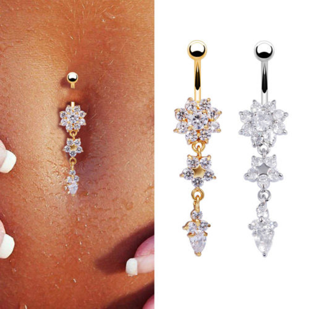 HTB15okrOFXXXXbdXFXXq6xXFXXXm Pretty CZ Crystal Flower Body Jewelry Belly Button Dangle Drop Ring