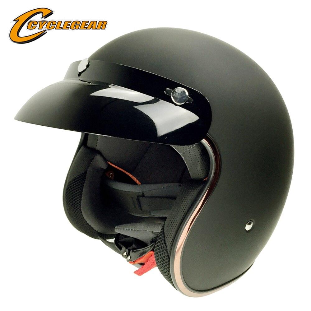 DOT Vintage Motociclo della bici Con Picco di Mezza Casco Cacapete Casco Casque Harley Retro Aperto Viso Unisex Caschi Fit Bubble Visiera