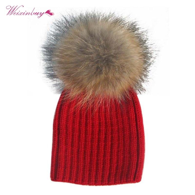 Baby Winter Hats kids Beanie Raccoon Fur Pom Bobble Woolen Hat Kids Warm Crochet Hat Kawaii Hats