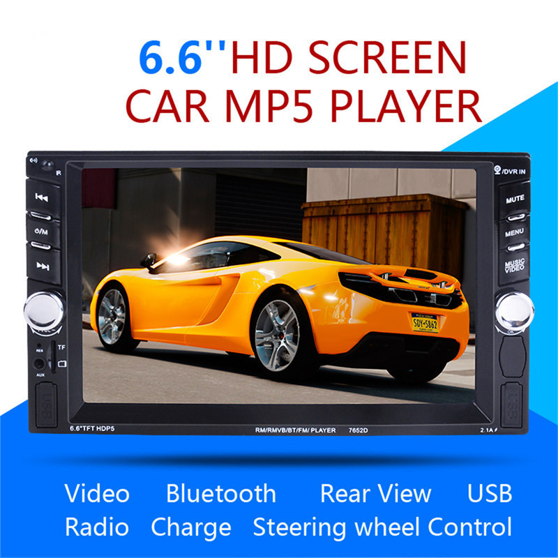 7652 2DIN Car Radio Player autoradio 6.6'HD Touch screen Bluetooth Rear View Camera Stereo FM/MP3/MP5/Audio/USB Auto Electronics 2 din 7 car radio player hd rear view camera bluetooth stereo fm mp3 mp4 mp5 audio video usb auto electronics autoradio charger