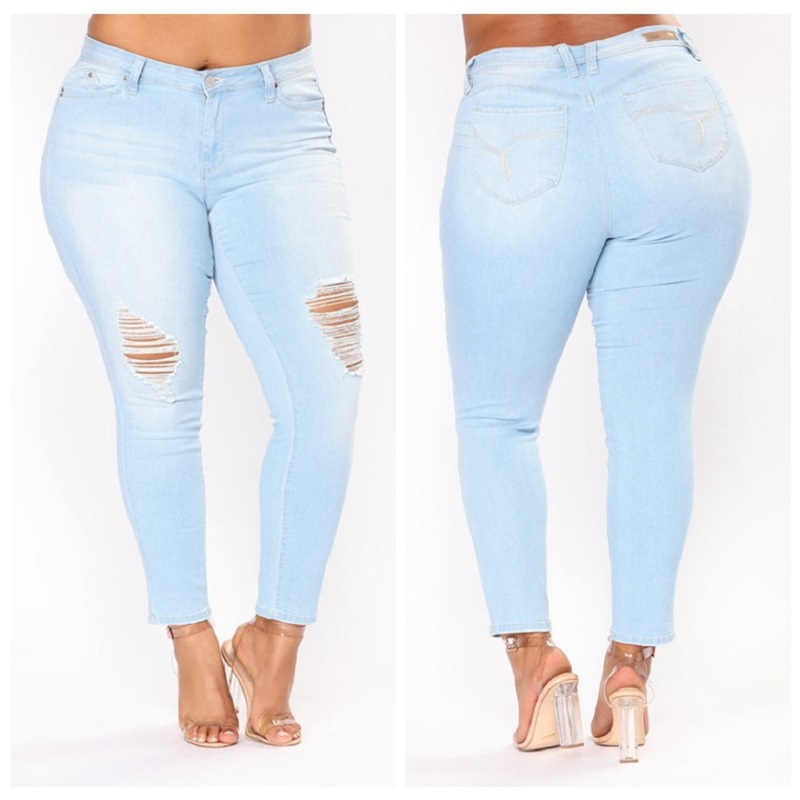 Lguc.H Ripped   Jeans   Women Large Size Push Up Torn   Jeans   Big Size Hole Distressed   Jeans   Plus Size Stretch Mom   Jeans   5XL,6XL,7XL