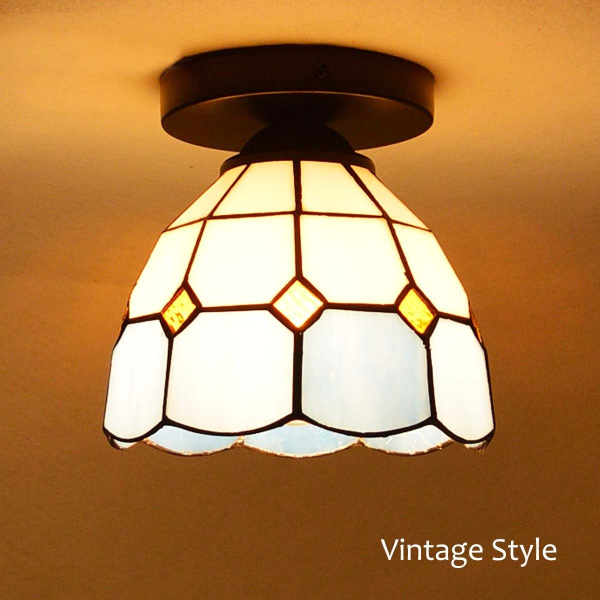 GLW Semi-Flush Mount Loft Industrial Glass Wall Lamp Fixture Corridor Tiffany Style Sconce Indoor Vintage RetroGLW Semi-Flush Mount Loft Industrial Glass Wall Lamp Fixture Corridor Tiffany Style Sconce Indoor Vintage Retro