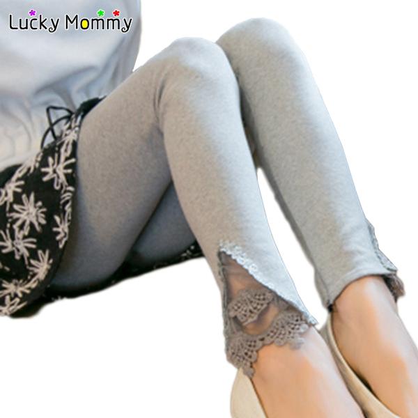 Primavera / outono Lace oco calças de maternidade Leggings para grávidas gravidez roupa de maternidade