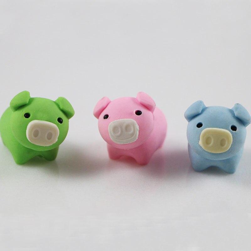 Купить с кэшбэком 1pcs cute Cartoon piggy lovely eraser children Learning stationery kawaii school supplies papelaria gift for kids
