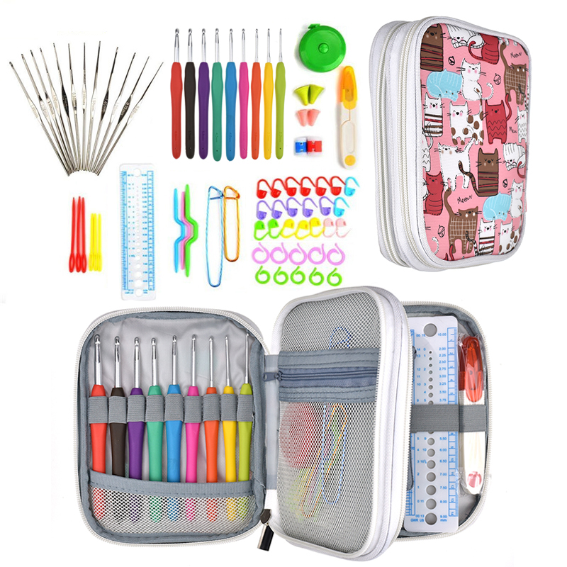 74 Pcs Crochet Hooks Knitting Set Mix 21 Size Yarn Weave Knitting Needles Gauge Scissors Knitting Sewing Accessories with Bag in Sewing Tools Accessory from Home Garden