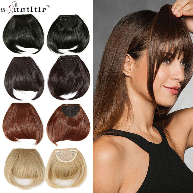Snoilite Women Synthetic Clip In Blunt Bangs Fringe Front On Hair