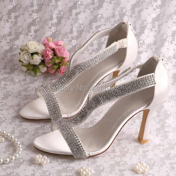 301226bc8b Handmade Ladies Silver Sandals Size 5 Peep Toe Bridesmaid Heels with  Rhinestones