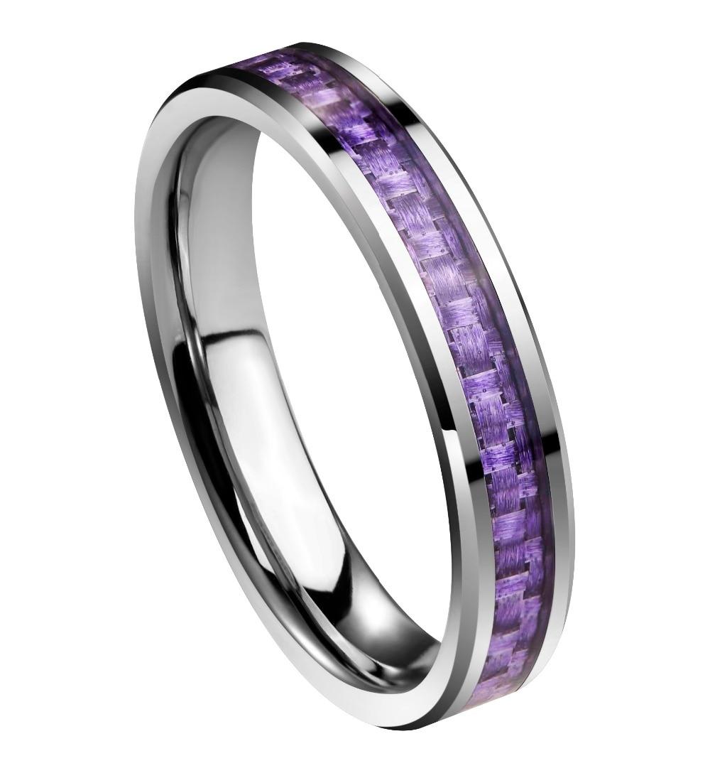 4mm Tungsten Carbide Ring Purple Inlay Carbon Fiber Wedding Bands Anniversary Women's jewelry black tungsten carbide with dark wood inlay mens wedding ring