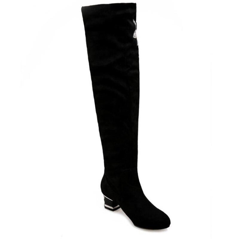 Black Cristal En Hauts green Chaussures Bottes Dames Confortable Femmes Suède Genou Haute Femelle Talons D'hiver Le Sur ZqprSwZ0