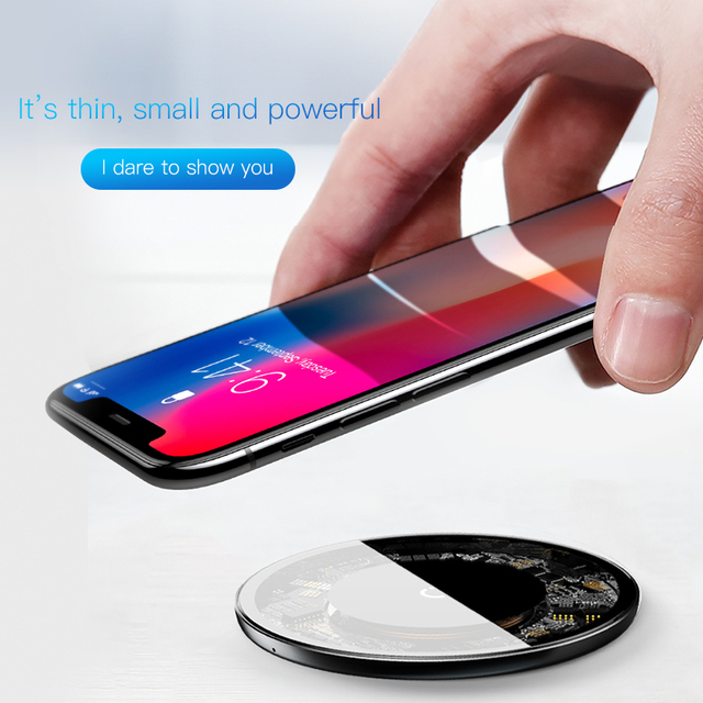 Baseus 10 w Qi Sans Fil Chargeur pour iPhone X/8 Visible Rapide Sans Fil De Charge pad pour Samsung S9/ s9 + S8 Note 9 9 + 8 Xiaomi Huawei 4