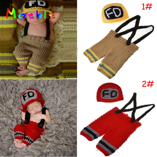 7e7315fd944d Newborn Boys Crochet Firefighters Photography Props Knitted Infant Boy  Coming Home Outfit BABY Fireman Costume 0-3M MZS-15037