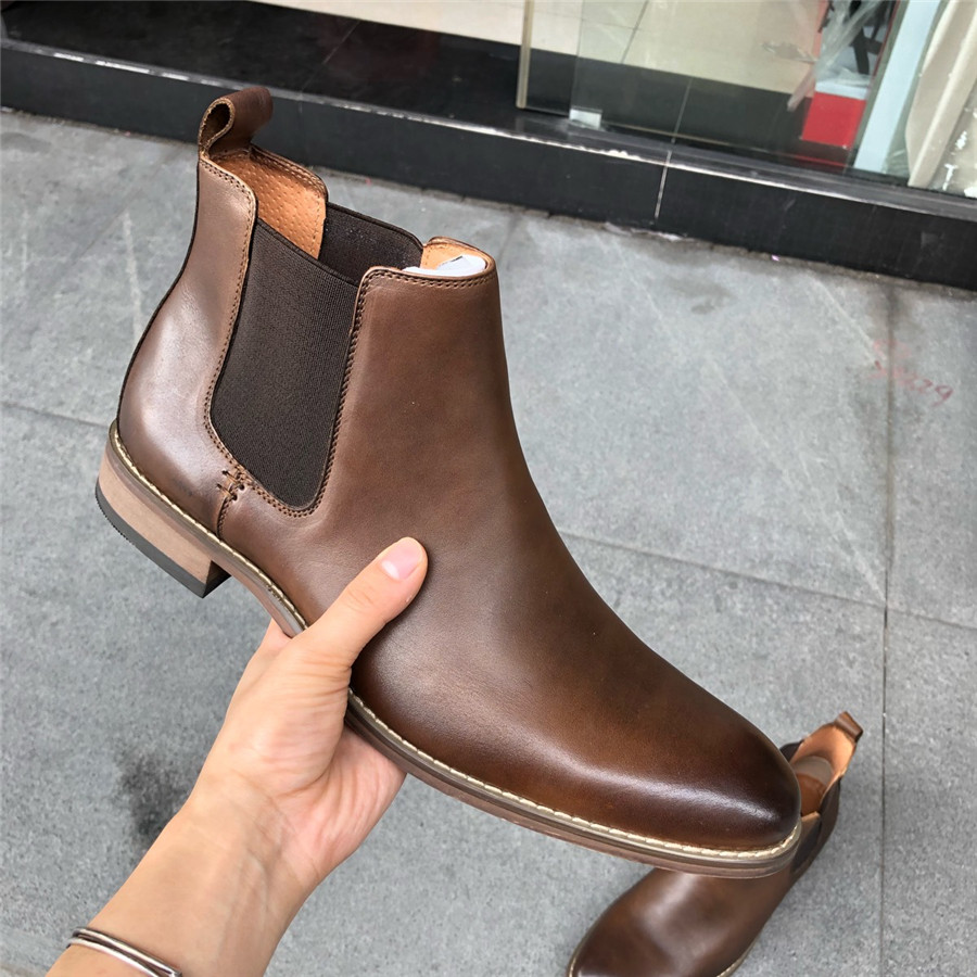 plus size EU39-47 High-End Custom Slip On business casual men genuine leather Boots Top leather handmade bootsplus size EU39-47 High-End Custom Slip On business casual men genuine leather Boots Top leather handmade boots