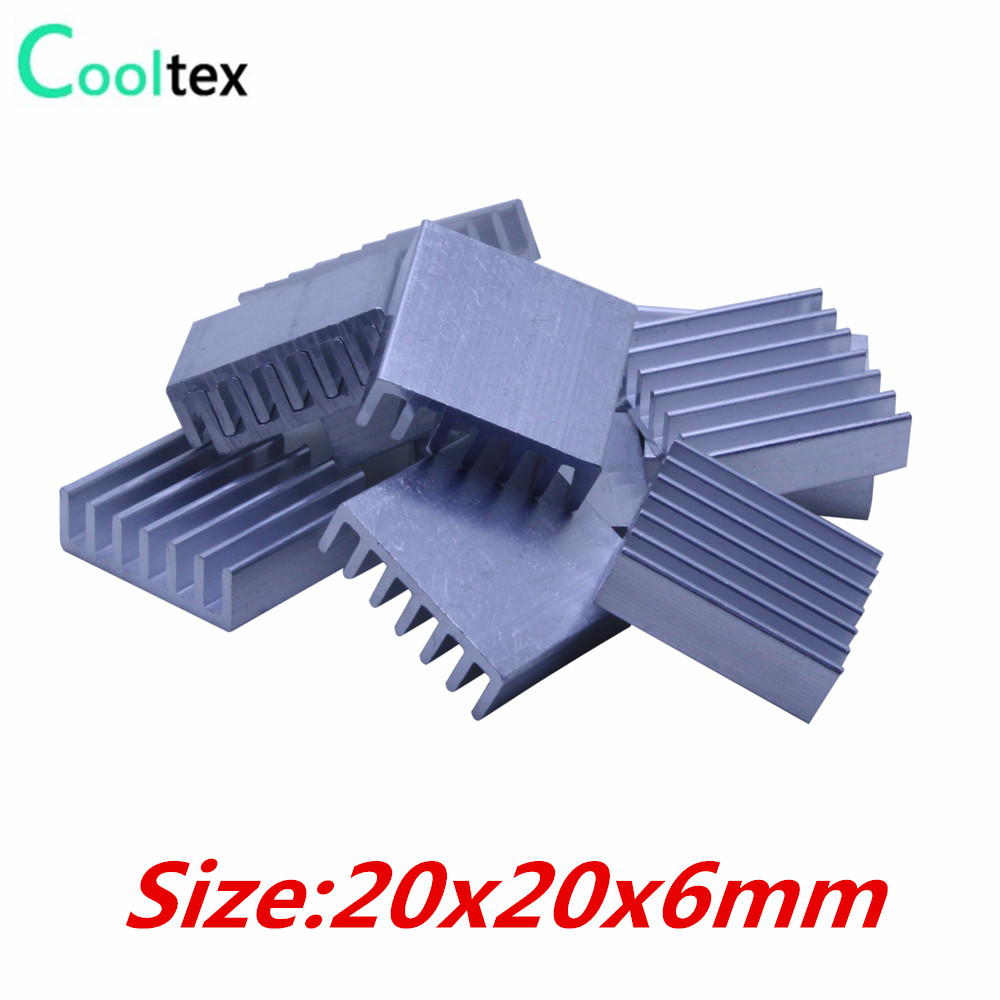 20pcs Extruded Aluminum heatsink heat sink 20x20x6mm for electronic Chip VGA  RAM LED IC radiator COOLER cooling 20pcs lot aluminum heatsink 14 14 6mm electronic chip radiator cooler w thermal double sided adhesive tape for ic 3d printer