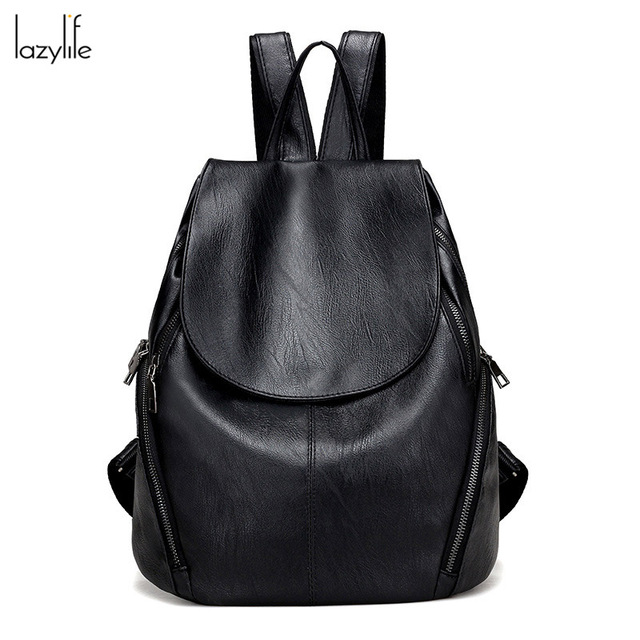 2b7303513293 LAZYLIFE Simple Style Backpack Women PU Leather Backpacks For Teenage Girls  School Bags Fashion Vintage Solid Shoulder Bag Black