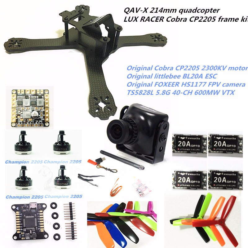 DIY FPV mini drone QAV-X 214mm quadcopter 3/4mm frame kit LUX RACER FC + Cobra CP2205 + HS1177 camera + TS5828L rc across racer kit support kk mk mwc diy drone fpv f450 quadcopter multicopter frame with red white black frame arm mini quad