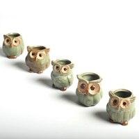 5pcs Lot Creative Ceramic Owl Shape Flower Pots For Fleshy Succulent Plant Animal Style Planter Home