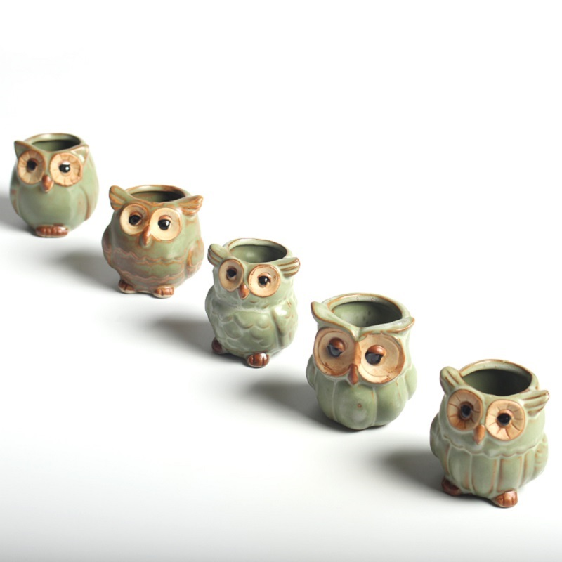 5pcs Lot Creative Ceramic Owl Shape Flower Pots For Fleshy