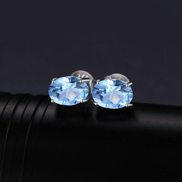 JewelryPalace Ovale 1.9ct Naturale Cielo Blu Topazio Birthstone Orecchini con perno Solido 925 Sterling Silver 2018 Gioielleria Raffinata Per Le Donne