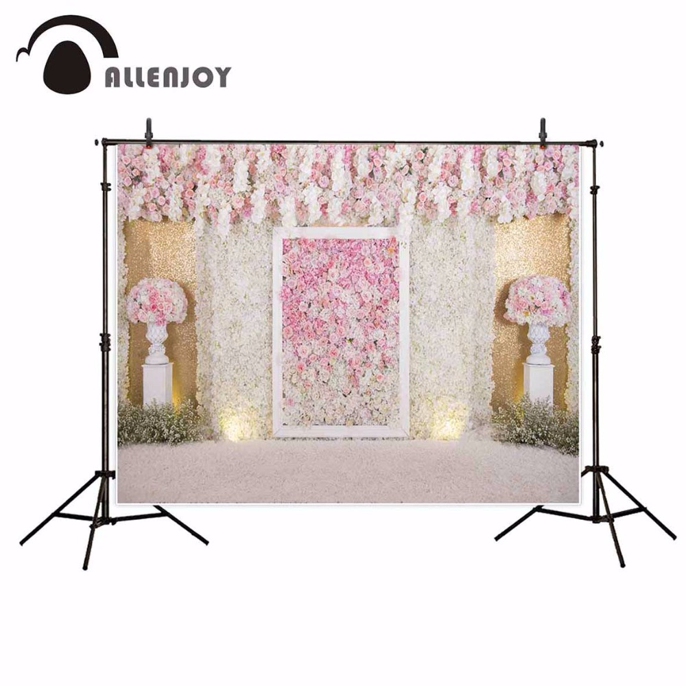 Allenjoy photography backdrops Wedding background Pink and white flowers floral wall Valentines photo indoor photography studio