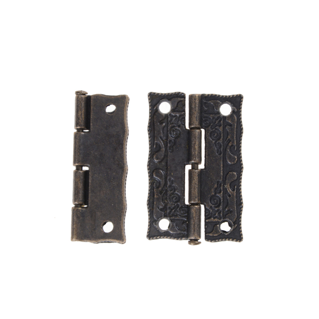 2Pcs Bronze Door Hinges Antique Drawer Jewellery Box Hinges For Furniture  Hardware Cabinet Hinges Furniture Accessories