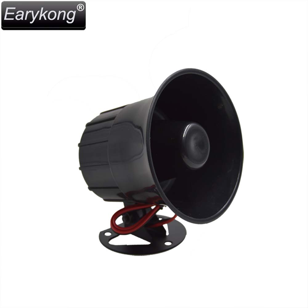 Free shipping High decibel 12v Anti-theft alarm Horn FOR family security alarm system Black high-pitched alarm loud horn em library security equipment book theft alarm system with free solution design
