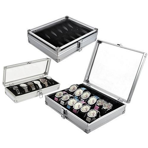 Watches Case Holder Jewelry Light Organize Display Wrist Aluminium 6/12-Grid Slots Convenient