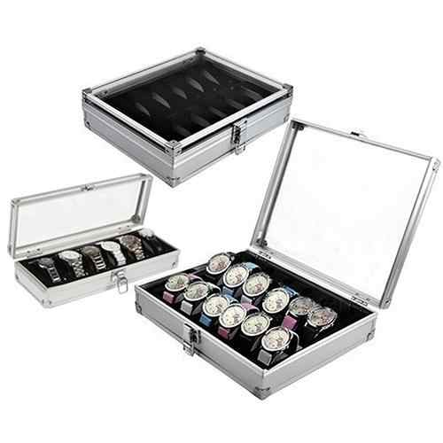 6/12 Grid Slots watch box convenient light watch winder Jewelry Wrist Watches Case Holder Display Storage Box Aluminium organize