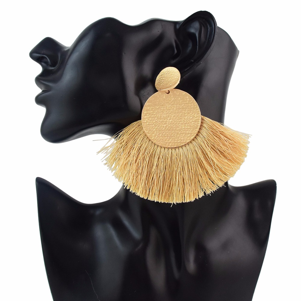 7 Colors Bohemian Gold Metal Drop Dangle Earrings For Women Geometric Circle Thread Tassel Fringe Earrings Ethnic Jewelry