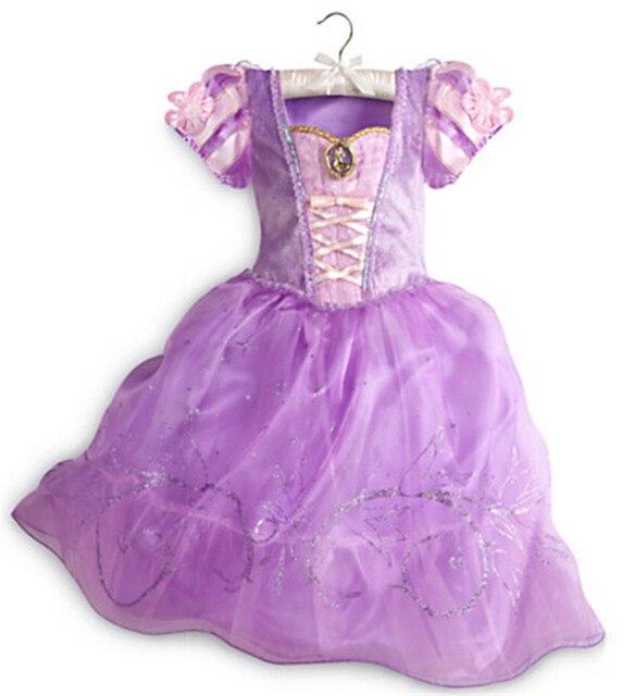 Мода дети хэллоуин костюмы с коротким рукавом американский девушка принцесса софия платье
