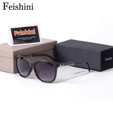 FEISHINI UV400 Noble Delicate Gradient Lenses Glasses Designer Gradient Driving Brand Sunglasses Women Polarized Vintage Cat eye