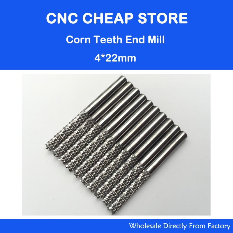 Free shipping 10pcs 4mm shank 22mm CEL Carbide End Mill Engraving Bits CNC Rotary Burrs Set