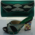 Green Italian Shoe with Matching Bag Set Decorated with Glitters African Women Shoe and Bag To Match Set for Party and Wedding