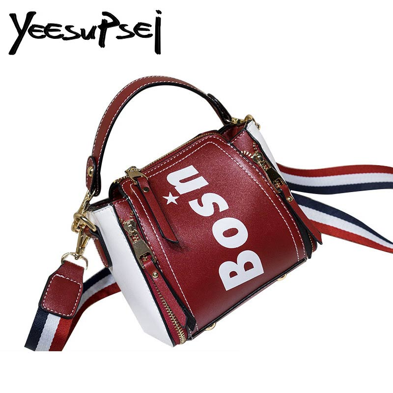 a9f55ee9a8 YeeSupSei Patch Color Women Sling Bag Small Bucket Tote Bag Printing BOSN PU  Leather Handbag Crossbody