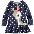 Crianças Meninas Camisetas de Manga Longa Lace One-piece Cervos Cotton Camisetas Roupas 1-6A