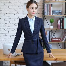 9ecac442228c Formal Career Blazer Suits Business Work Wear With Jackets And Skirt For Ladies  Office Blazers Uniforms Sets Dark Blue Striped