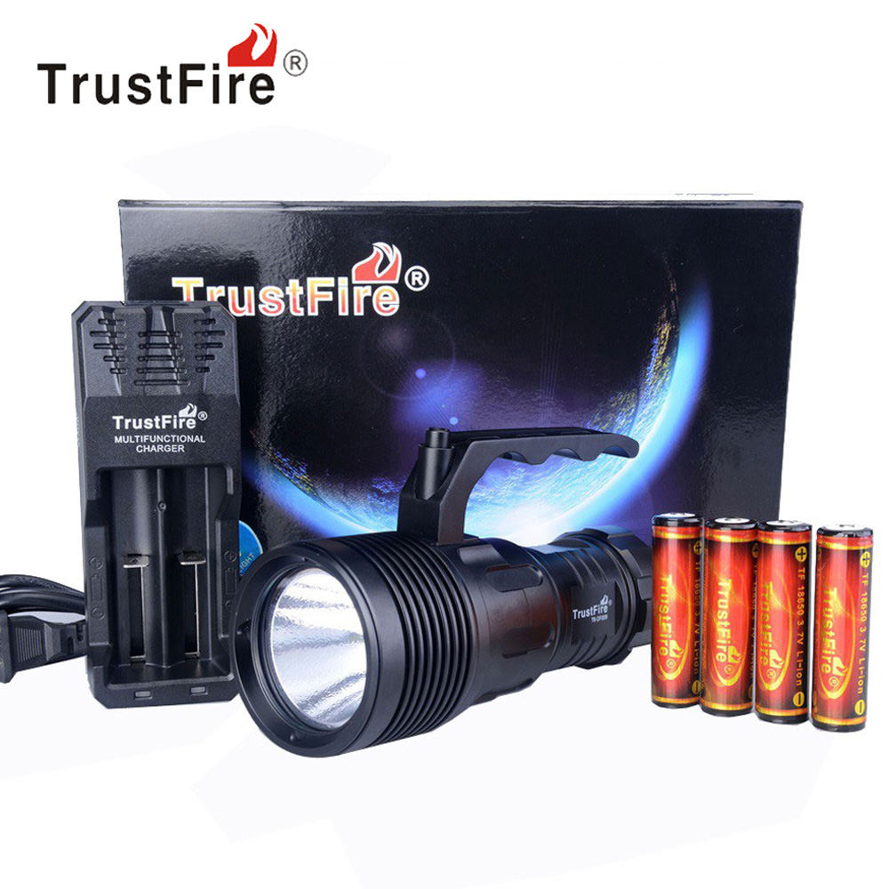 TrustFire DF009 LED Diving Flashlight Torch Waterproof Underwater 50M 18650 Diver Flash Light + 18650 Rechargeable Battery