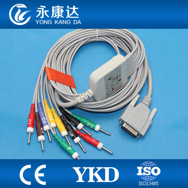 Compatible all Edan ECG EKG cable 12 channel IEC Din 3.0 with 10K resistance