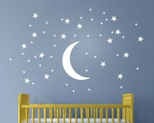 Stunningly Stars and Moon Childrens Wall Art Nursery Baby Decor Wall Stickers Kindergarten Child Kids Wall Stickers T170306(China)