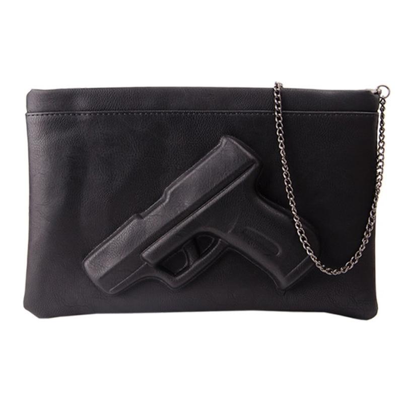 2016 New Women Shoulder Messenger Bags Clutches 3d Gun PU Leather Fashion Ladies Handbag Pistol Crossbody