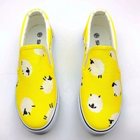 New Product Discount Sales Summer Flat Women Fruit Pineapple Hand Painted Canvas Shoes Low Doodle Loafers