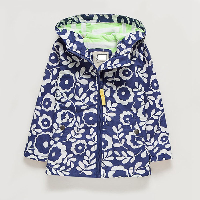 Girl windbreaker coat spring and autumn new European cotton lining children in the childrens card Blue print flower
