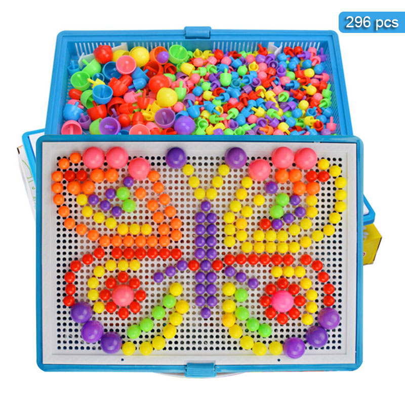 296Pcs Mushroom Nail Kit Set Baby Puzzle Toys 3D Puzzle Blocks Toy For Children Composite Intellectual Educational Toys-in Interconnecting Blocks from Toys & Hobbies
