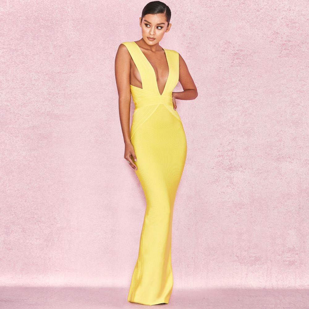 Bandage Dress Yellow Sexy Long Party Dress Bandage Rayon Backless Deep V Evening Bandage Dress Sexy Women Clothes 2018 Fashion