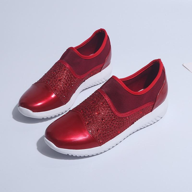 Taille 44 Femmes Printemps Dames Mode Mocassins Été Noir Casual Plat Glissement Sneakers Sur Respirant De Cristaux or Chaussures 2019 Confortable Des rouge qTEU8pxwE