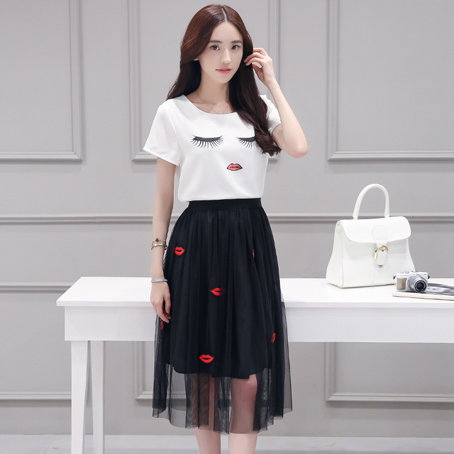 A Woman White Blouse Black Long Mouth Decor Skirts Gauze Sexy Clothing Set New Chiffon Short Sleeves Top Summer Splicing Gauze