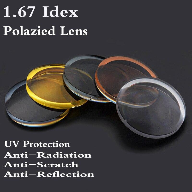 1.67 индекс Асферические поляризационные Солнцезащитные очки для женщин рецепта линзы CR-39 близорукости дальнозоркости УФ-защита Защита от с...