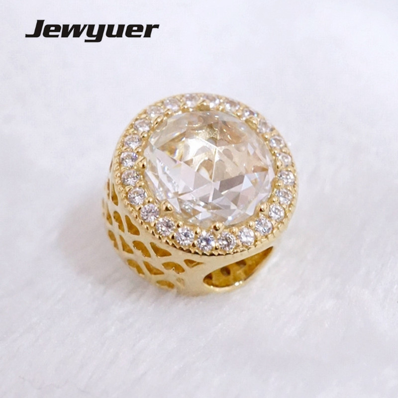14 k Or Rayonnante Coeurs charmes clip perles Fit 925 sterling silver charm bracelet BRICOLAGE pour les femmes De Noël cadeau Memnon GD089